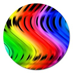 Colorful Vertical Lines Magnet 5  (round) by BangZart
