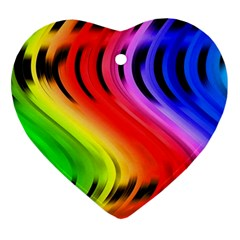 Colorful Vertical Lines Heart Ornament (two Sides) by BangZart