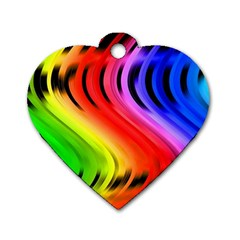 Colorful Vertical Lines Dog Tag Heart (two Sides) by BangZart