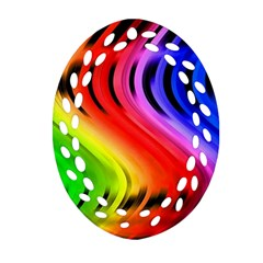 Colorful Vertical Lines Ornament (oval Filigree)