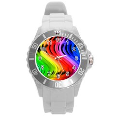 Colorful Vertical Lines Round Plastic Sport Watch (l)
