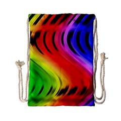 Colorful Vertical Lines Drawstring Bag (small)