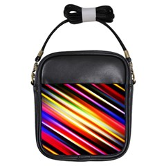 Funky Color Lines Girls Sling Bags by BangZart
