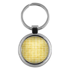 Spring Yellow Gingham Key Chains (round)  by BangZart