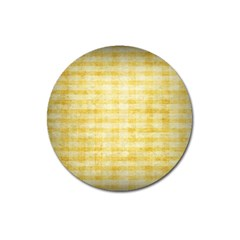 Spring Yellow Gingham Magnet 3  (round) by BangZart