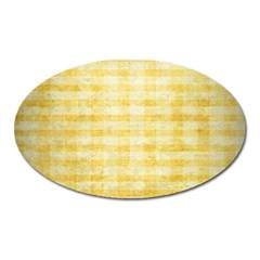 Spring Yellow Gingham Oval Magnet by BangZart