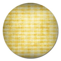 Spring Yellow Gingham Magnet 5  (round) by BangZart