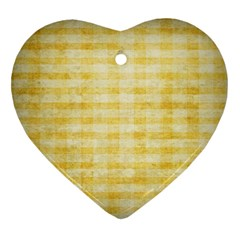 Spring Yellow Gingham Heart Ornament (two Sides)