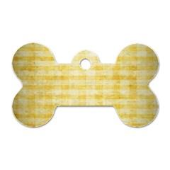 Spring Yellow Gingham Dog Tag Bone (two Sides)