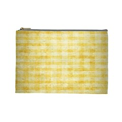Spring Yellow Gingham Cosmetic Bag (large)  by BangZart