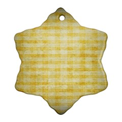 Spring Yellow Gingham Snowflake Ornament (two Sides)
