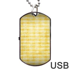 Spring Yellow Gingham Dog Tag Usb Flash (two Sides) by BangZart