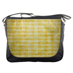 Spring Yellow Gingham Messenger Bags by BangZart
