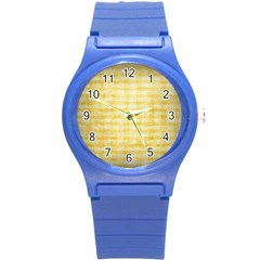 Spring Yellow Gingham Round Plastic Sport Watch (s) by BangZart