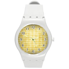 Spring Yellow Gingham Round Plastic Sport Watch (m) by BangZart