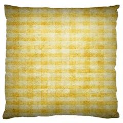Spring Yellow Gingham Large Cushion Case (one Side) by BangZart