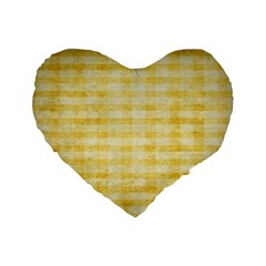 Spring Yellow Gingham Standard 16  Premium Heart Shape Cushions by BangZart
