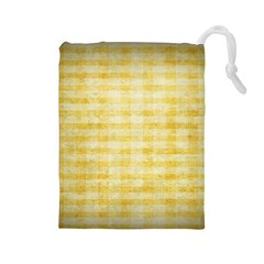 Spring Yellow Gingham Drawstring Pouches (large)  by BangZart