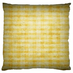 Spring Yellow Gingham Large Flano Cushion Case (one Side) by BangZart