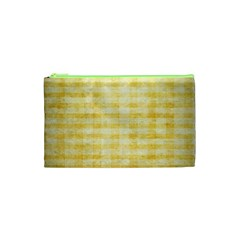 Spring Yellow Gingham Cosmetic Bag (xs) by BangZart