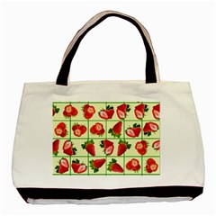 Strawberries Pattern Basic Tote Bag by SuperPatterns