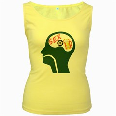 Male Psyche Women s Yellow Tank Top by linceazul