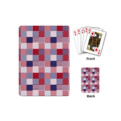 USA Americana Patchwork Red White & Blue Quilt Playing Cards (Mini)