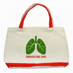 Tobacco Free Zone Classic Tote Bag (red) by linceazul
