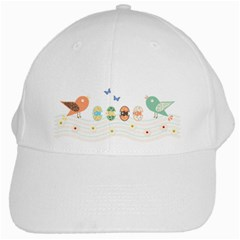 Cute Birds White Cap by linceazul