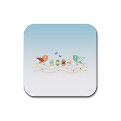 Cute Birds Rubber Coaster (square)  by linceazul