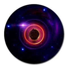 The Little Astronaut On A Tiny Fractal Planet Round Mousepads by jayaprime