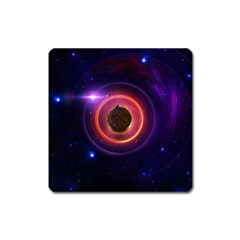 The Little Astronaut On A Tiny Fractal Planet Square Magnet