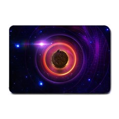 The Little Astronaut On A Tiny Fractal Planet Small Doormat  by beautifulfractals