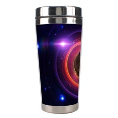 The Little Astronaut On A Tiny Fractal Planet Stainless Steel Travel Tumblers by jayaprime