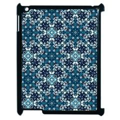 Boho Blue Fancy Tile Pattern Apple Ipad 2 Case (black) by KirstenStar