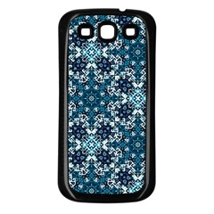 Boho Blue Fancy Tile Pattern Samsung Galaxy S3 Back Case (black) by KirstenStar