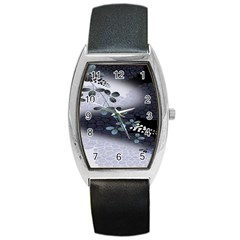 Abstract Black And Gray Tree Barrel Style Metal Watch by BangZart