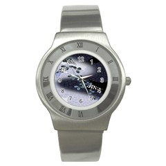 Abstract Black And Gray Tree Stainless Steel Watch by BangZart