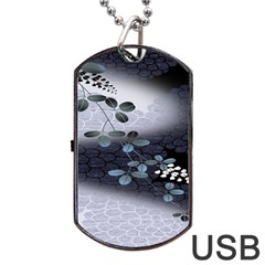 Abstract Black And Gray Tree Dog Tag Usb Flash (one Side)