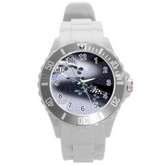 Abstract Black And Gray Tree Round Plastic Sport Watch (l)