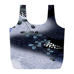 Abstract Black And Gray Tree Full Print Recycle Bags (l)