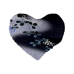 Abstract Black And Gray Tree Standard 16  Premium Flano Heart Shape Cushions by BangZart