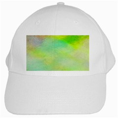 Abstract Yellow Green Oil White Cap by BangZart