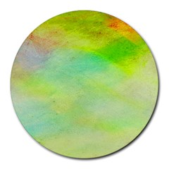 Abstract Yellow Green Oil Round Mousepads by BangZart
