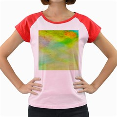 Abstract Yellow Green Oil Women s Cap Sleeve T Shirt