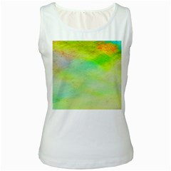Abstract Yellow Green Oil Women s White Tank Top by BangZart