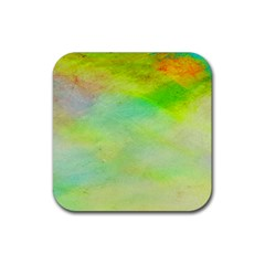 Abstract Yellow Green Oil Rubber Square Coaster (4 Pack)  by BangZart