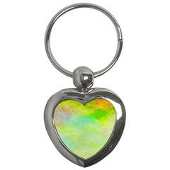 Abstract Yellow Green Oil Key Chains (heart)  by BangZart