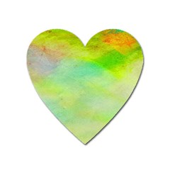 Abstract Yellow Green Oil Heart Magnet