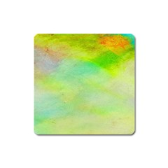Abstract Yellow Green Oil Square Magnet by BangZart